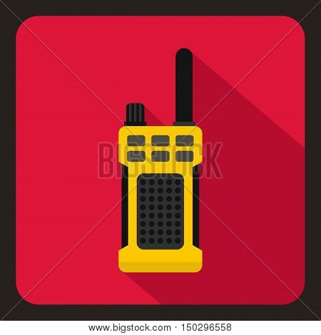 Yellow portable handheld radio icon in flat style on a crimson background vector illustration