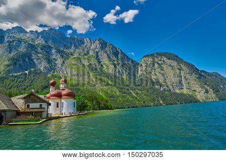 St.Bartolomei Monastery Church on Konigsee lake of German Bavaria