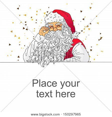 Santa Claus in a red cap with a thick beard. Vector illustration on white background. Space for text. Elements for design. Excellent New Year's gift card.