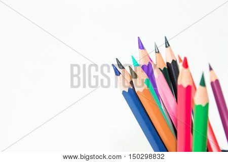 color pencil on white background / outstanding character concept / Individuality concept / pencils concept / focus pencil purple