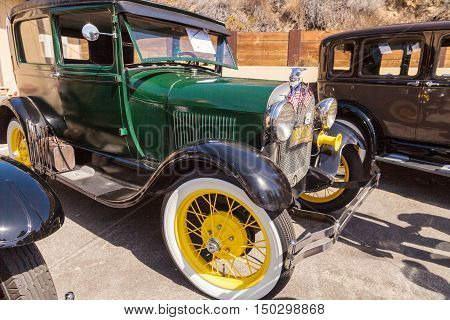 Laguna Beach, CA, USA - October 2, 2016: Green 1928 Ford Model A owned by Vince Piper and displayed at the Rotary Club of Laguna Beach 2016 Classic Car Show. Editorial use.