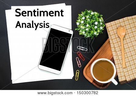 Text Sentiment analysis on white paper / business concept