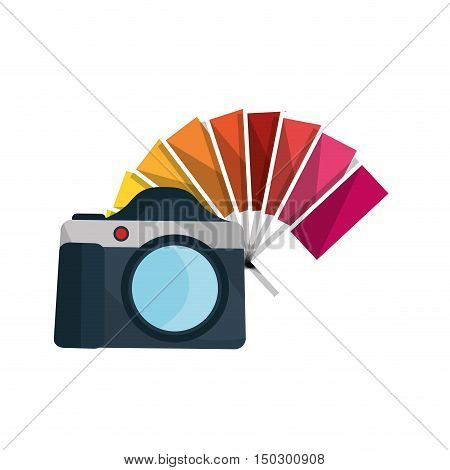 photographic camera device and color guide palette. vector illustration