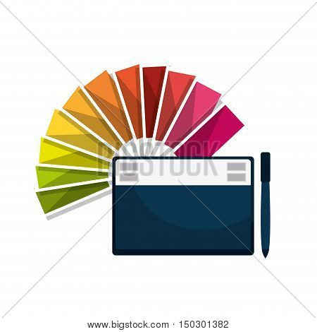 graphic tablet techonology device and color guide palette. vector illustration