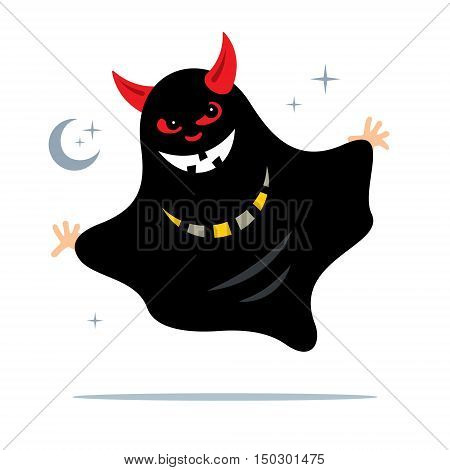 Black Spook with red horns. Isolated on a white Background