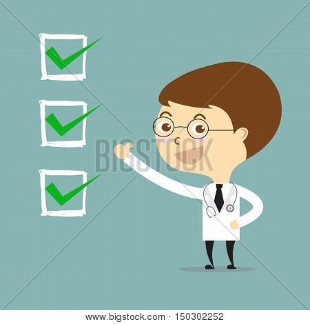 doctor thumbs up with check in white square vector