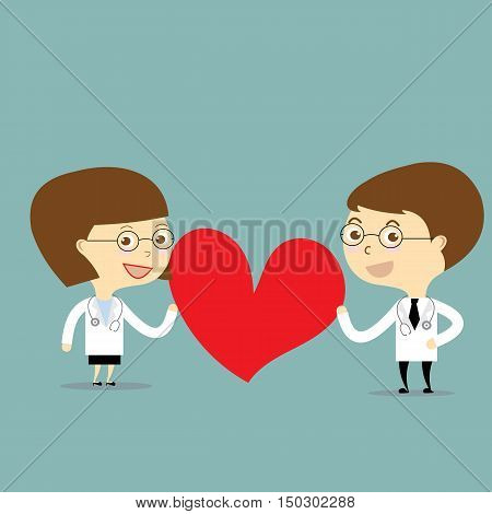 doctor and woman doctor holding red heart vector