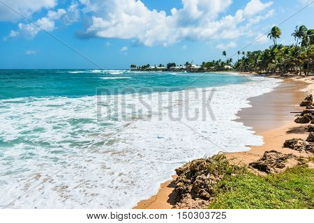 Empty tropical beach Tobago Caribbean West Indies