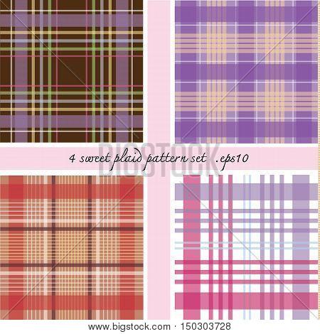4 sweet plaid pattern set vector pink red brown