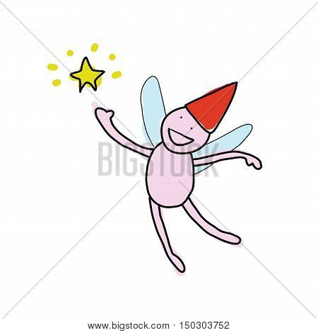 flying andgle with yellow star hand drawn cartoon vector