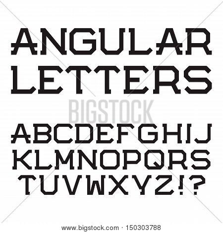 Black angular capital letters. Stylish font. Isolated latin alphabet.