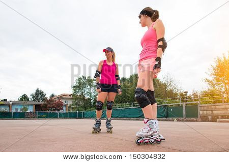 Sporty Girls In Golf Rollerblade