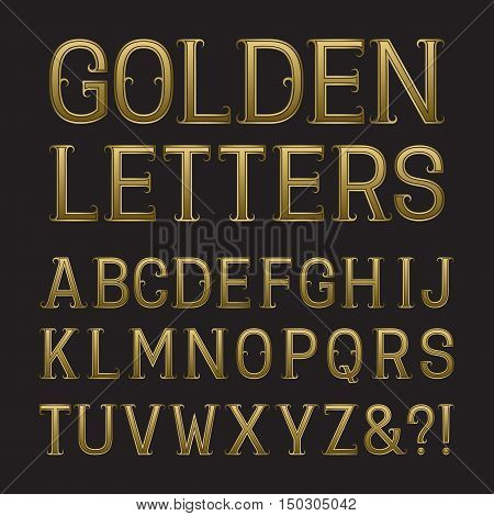 Golden capital letters with tendrils. Luxury font for rich design. Isolated latin alphabet.