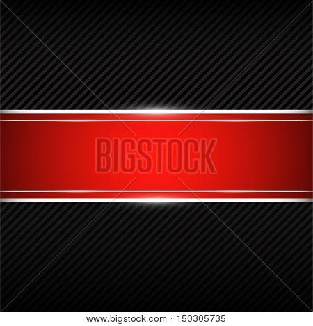 Black background with red banner. Vector illustration eps 10.
