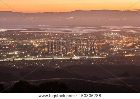 Dusk over Silicon Valley as seen from Garin Regional Park, Alameda County, California, USA.