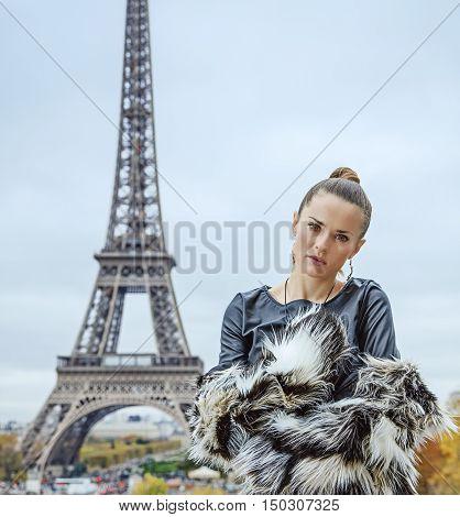Modern Fashion-monger In Fur Coat In Paris, France