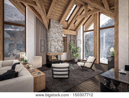 3D Rendering Of  Living Room Of Chalet