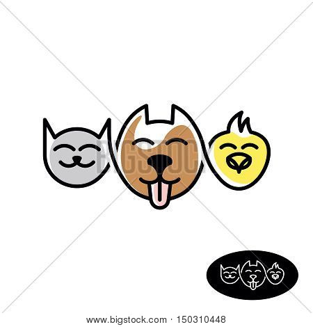 Pet store logo. Funny cat dog and bird heads linear style illustration. Pet food and acessories animal shop concept.