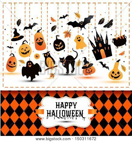 Halloween Banner On Colors And White Background.