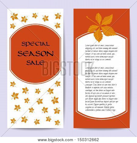 Stock vector cards template for for autumn sale. White and orange background. Fall leafs. You can place your text in the center. Template for poster banner greeting card invitation.