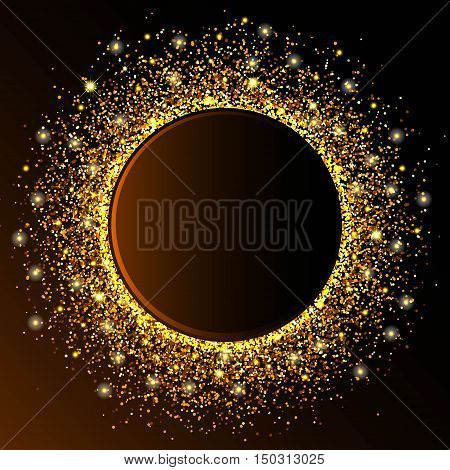Golden circle wave sparkles golden abstract background, golden glitter on a dark brown background, vip design template. Vector illustration.