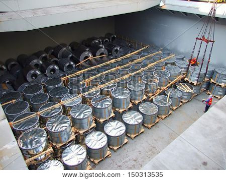 Coil steel ,TMBP steel,Packed rolls of coil steel in stock in shipment transportation boat
