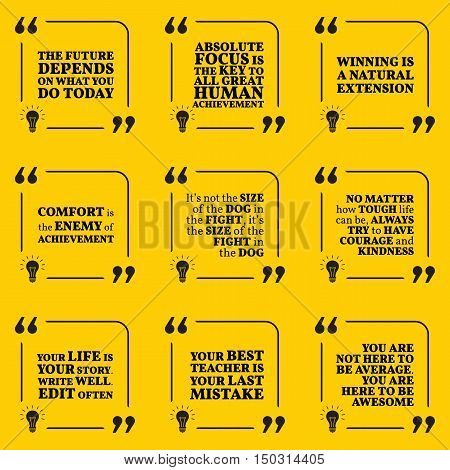 Set Of Motivational Quotes About Future, Goals, Comfort, Action, Winning, Courage, Kindness, Achieve