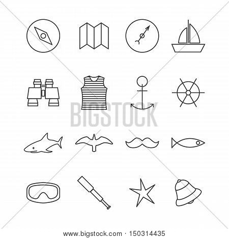 Set icons outline nautical of thin lines isolated on white background. Design elements marine navigation items vector illustration.