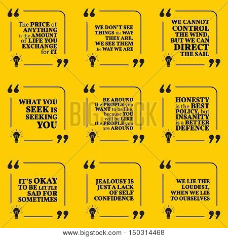 Set Of Motivational Quotes About Price, Vision, Search, Honesty, Insanity, Sadness, Jealousy And Lie