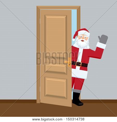 Santa in the door. Santa Claus looking through the door and shaking his hand. Vector with flat color design.