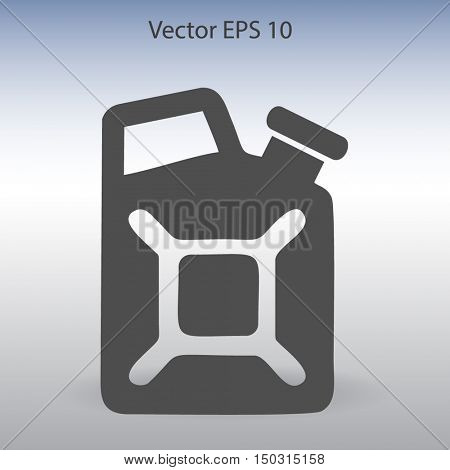 Flat jerrycan icon. Vector