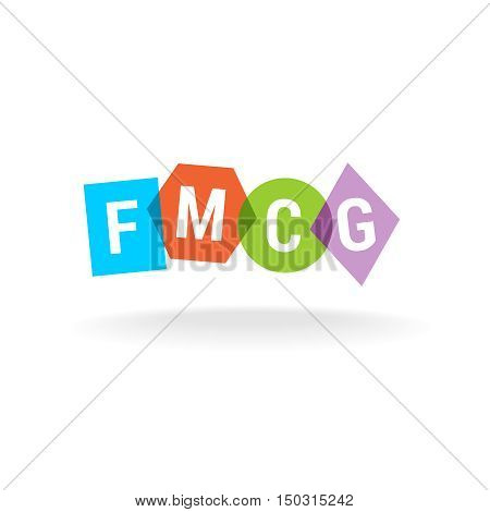 FMCG acronym. Letters logo. Fast moving consumer goods business concept.