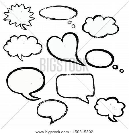 bubble speech doodle vector set cute hand drawn
