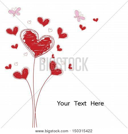 grunge and doodle red heart flower with pink butterfly isolated vector