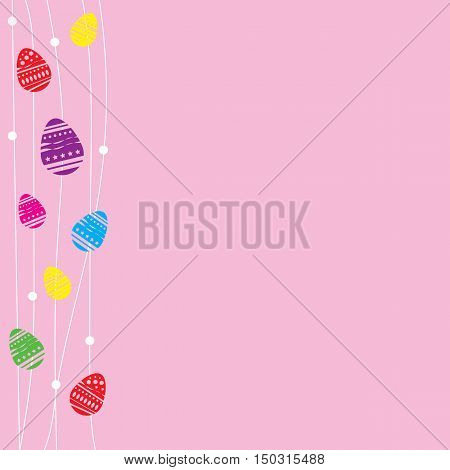 pink card Easter eggs with white line doodle and space for text vector