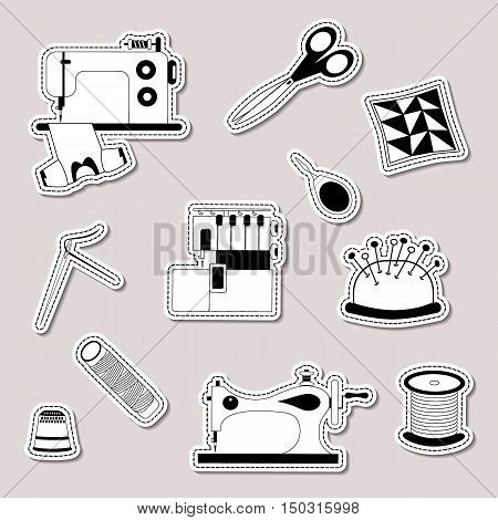 Vector set of design element logo badge label icon decoration and scrapbook object. Handmade tailor seamstress theme. Sewing machine vintage sewing machine serger needle scissors bobbin needle bar needle threader patchwork pillow