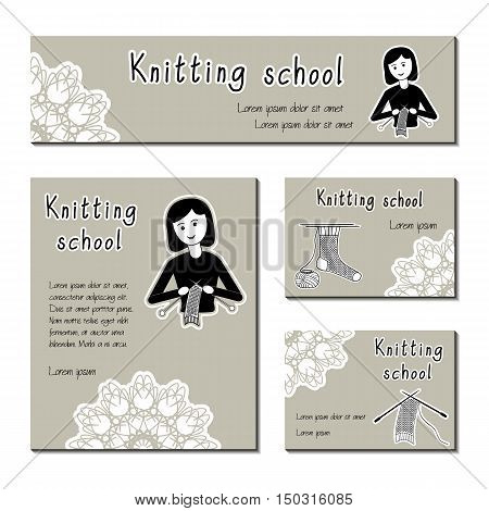 Black-white vector cards template for knitting school yarn shop. Flat icon knitter girl. Set of template for business card information banner poster magazine presentation logo web site.