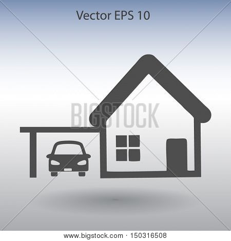 house with garage vector illustration