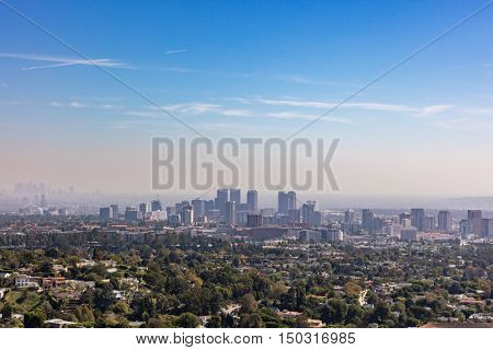 Skyline of downtown Los Angeles, California within the San Fernando valley