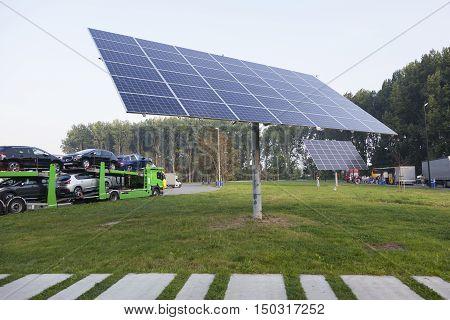 solar panels on truck stop near belgian motorway between Ghent and Brugge