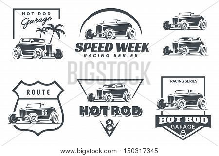 Set of Hot Rod logo emblems and icons. Roadster and coupe hot rod illustration isolated on white background.
