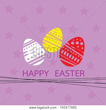 card with easter eggs and star background purple vector