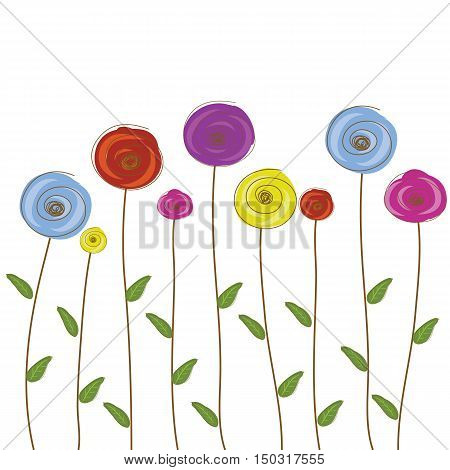 flowers round cute color hand drawn vector