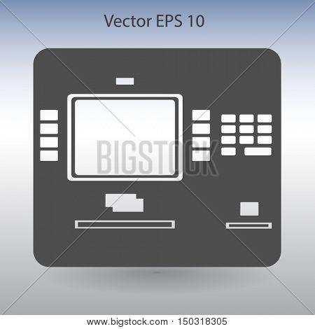 cash dispenser flat icon vector illustration