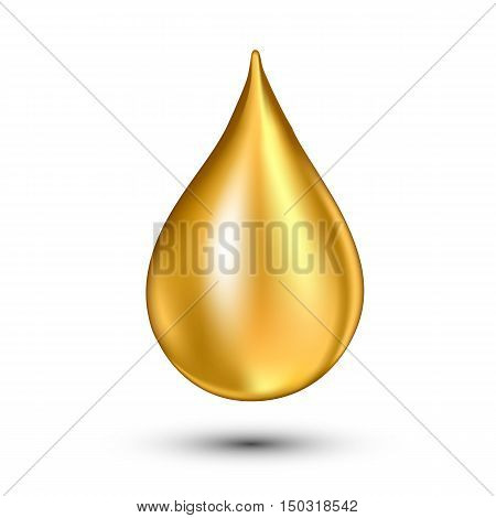 Vector illustration of Oil drop. Clean isolated on white. Falling drop.