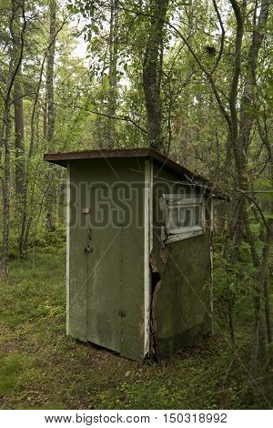 Outhouse toilet in a forest in Sweden