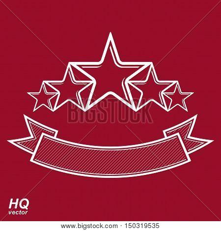 Vector Monarch Symbol. Festive Graphic Emblem With Five Pentagonal Stars And Curvy Ribbon - Decorati
