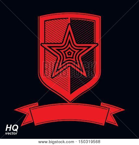 Vector Shield With A Red Pentagonal Soviet Star, Protection Heraldic Blazon. Military Armed Conceptu