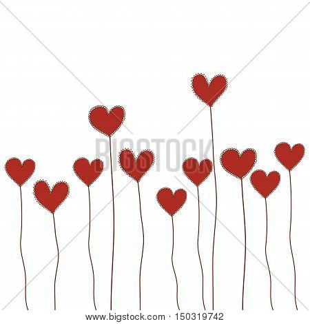 red heart flowers doodle hand drawn isolated vector for Valentine's Day