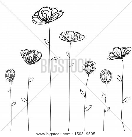 flowers doodle sketch isolated hand drawn vector